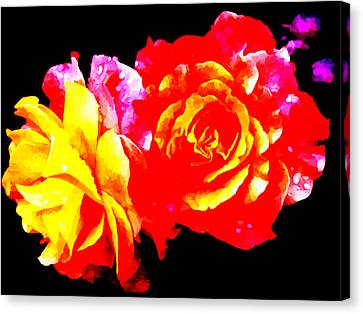 Neon Roses Canvas Print