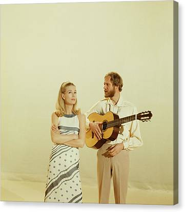 Nina And Frederik Perform On Tv Show Canvas Print by David Redfern
