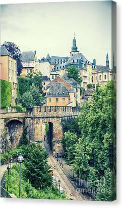 Canvas Print featuring the photograph old city Luxembourg from above by Ariadna De Raadt
