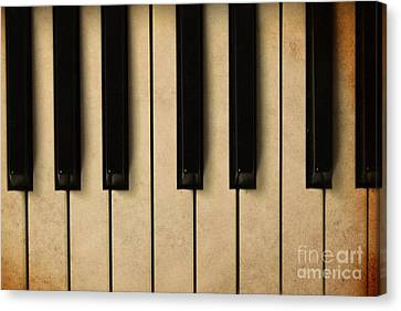 Old Piano Vintage Background Canvas Print by Midiwaves