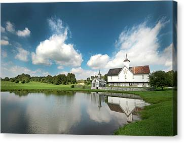Old Star Barn And Pond Reflection Canvas Print