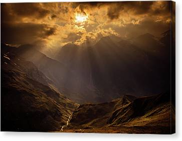 Panorama Of The Alps In Sunset Canvas Print