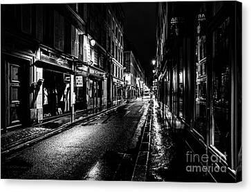 Paris At Night - Rue De Vernueuil Canvas Print