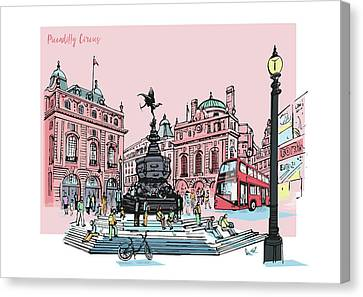 LONDON PICCADILLY CIRCUS PICTURE  PRINT ON FRAMED CANVAS WALL ART DECORATING