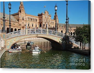 Plaza De Espana Boats In Seville Canvas Print