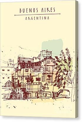 Poor Neghborhood In Buenos Aires Canvas Print by Babayuka