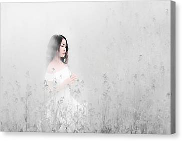 Portrait Of A Girl In A White Dress Between Flowers Canvas Print