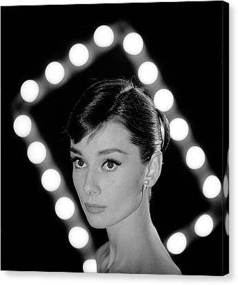 Portrait Of Actress Audrey Hepburn Canvas Print by Allan Grant