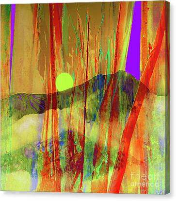 Many Blessings Prayer Flags Over Green Mountains Canvas Print