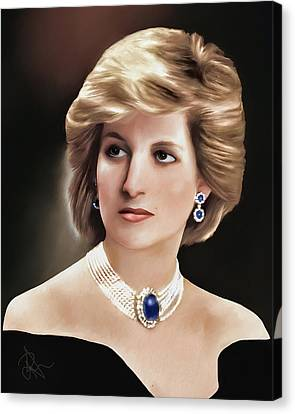 Canvas Print featuring the digital art Princess Diana by Pennie  McCracken