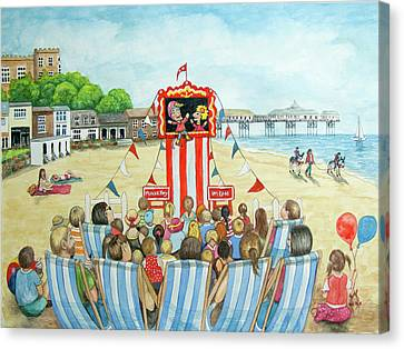 Punch And Judy On The Beach Canvas Print