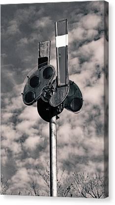 Canvas Print featuring the photograph Railroad Semaphore Signal 10 B W 1 by Joseph C Hinson Photography