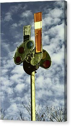 Canvas Print featuring the photograph Railroad Semaphore Signal 10 Color 2 by Joseph C Hinson Photography