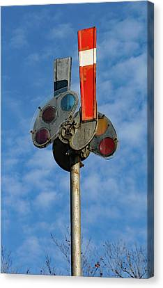 Canvas Print featuring the photograph Railroad Semaphore Signal 10 Color by Joseph C Hinson Photography