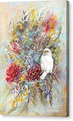 Rare White Sparrow - Portrait View. Canvas Print