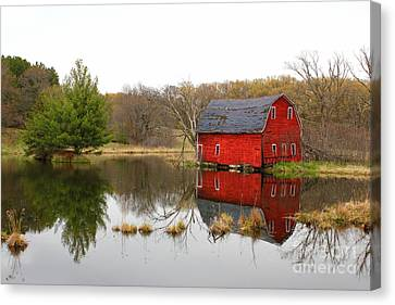 Red Barn Reflections Canvas Print