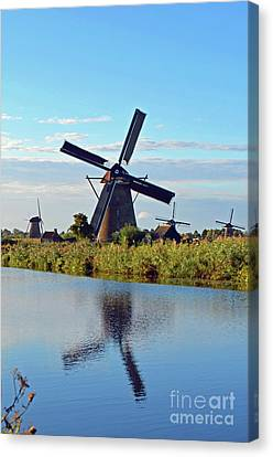 Reflection Of Windmill Canvas Print