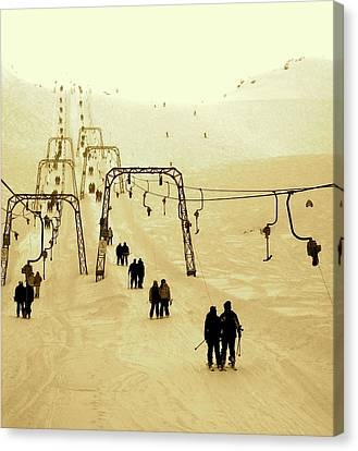 Riding The Old T-bars Canvas Print