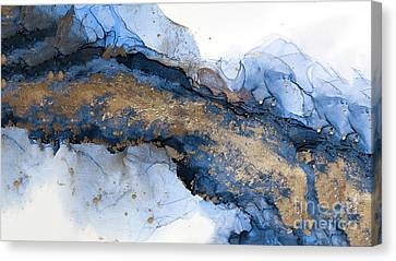 River Of Blue And Gold Abstract Painting Canvas Print