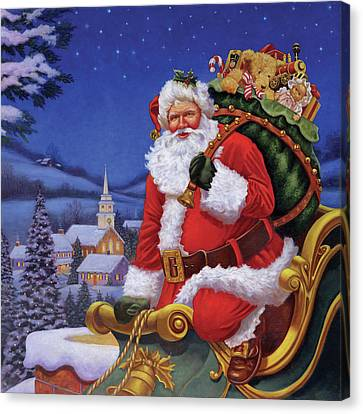 Merry Christmas Eve Santa Claus Sleigh Moon Large Canvas Wall Art Picture Print
