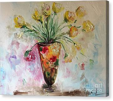 Canvas Print featuring the painting Roses In Vase by Laurie Lundquist
