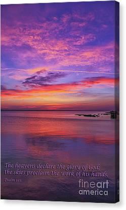 Sea Sunset Psalm 19 Canvas Print