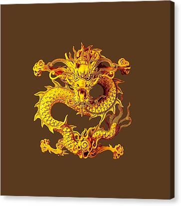 Seamless Pattern With Asian Dragon.  Canvas Print