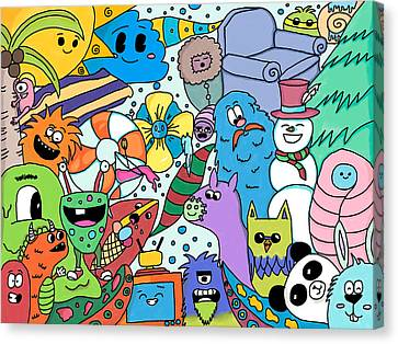 Seasons Doodle Canvas Print