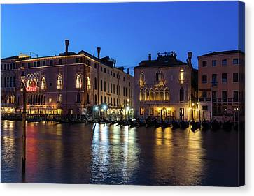 Silky Nightfall On The Grand Canal - Canalazzo Venice Italy Canvas Print