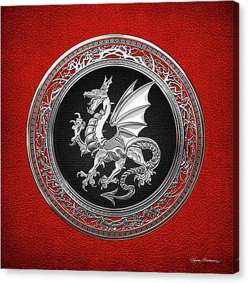 Canvas Print featuring the digital art Silver Winged Norse Dragon - Icelandic Viking Landvaettir On Black And Silver Medallion Over Red  by Serge Averbukh