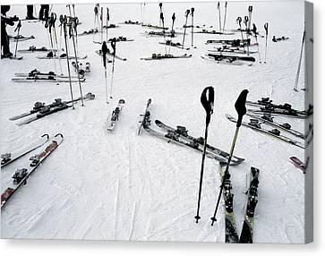 Ski Equipment On The Slopes At A Ski Canvas Print