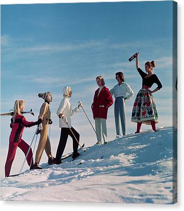 Skiing Party Canvas Print