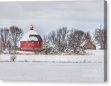 Snow Covered Round Barn Canvas Print