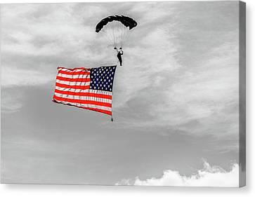 Socom Flag Jump In Selective Color Canvas Print