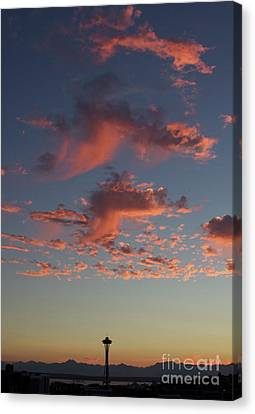 Space Needle And Pink Clouds Canvas Print