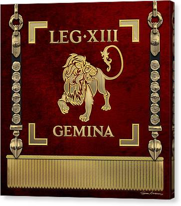Canvas Print featuring the digital art Standard Of The 13th Legion Geminia - Vexillum Of 13th Twin Legion by Serge Averbukh