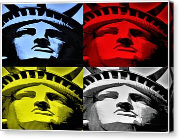 Statue Of Liberty In Quad Colors Canvas Print
