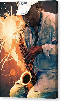 Street Sax Player Canvas Print