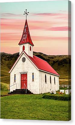 Sunset Chapel Of Iceland Canvas Print