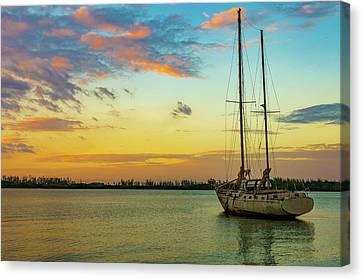 Sunset On The Lagoon Canvas Print