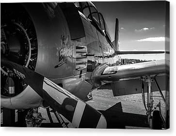 T-28b Trojan In Bw Canvas Print