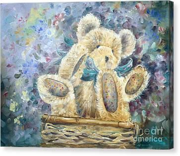 Teddy Bear In Basket Canvas Print
