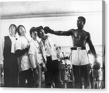 The Beatles And Muhammad Ali In 1964 Canvas Print