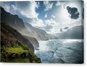 Canvas Print featuring the photograph The Cliffs Of Kalalau by Tim Newton