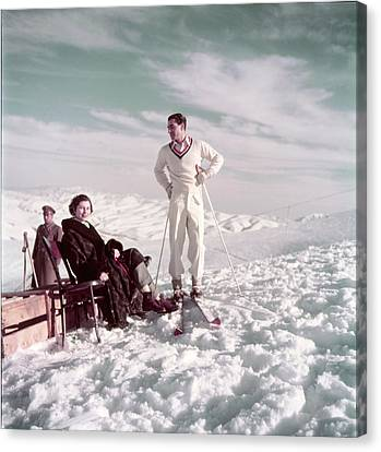 The Shah & Wife Skiing Canvas Print