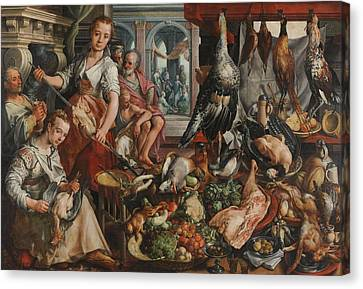 Joachim Bueckelaer 16th Century Kitchen Scene Canvas Wall Art Print The Well-Stocked Kitchen Various Sizes Available