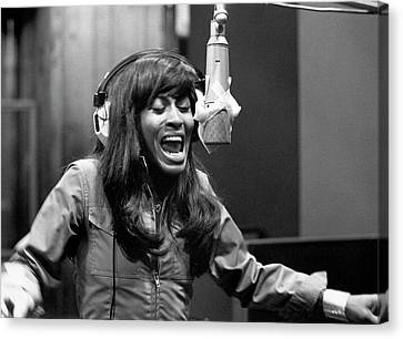 Tina Turner Recording Session Canvas Print by Michael Ochs Archives
