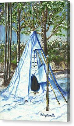 Tipi In The Snow Canvas Print