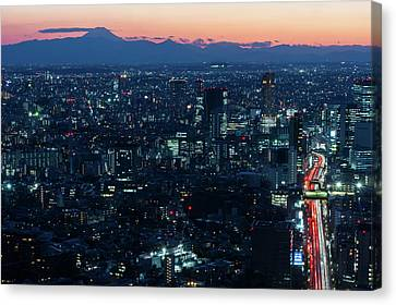 Tokyo Cityscape By Sunset Canvas Print