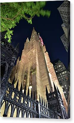 Trinity Church In New York City At Night Canvas Print